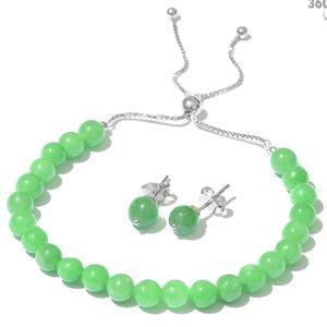 Burmese Green Jade Bracelet & Earrings Set